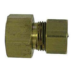 3/8 inch x 1/4 inch Brass Female Compression x Compression Adapter