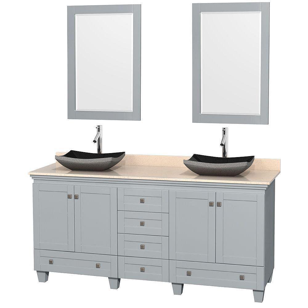 """Wyndham Collection Meuble s. bains dbl Acclaim 72"""" gris huître, comptoir marbre ivoire, éviers granit noir, miroirs 24"""""""
