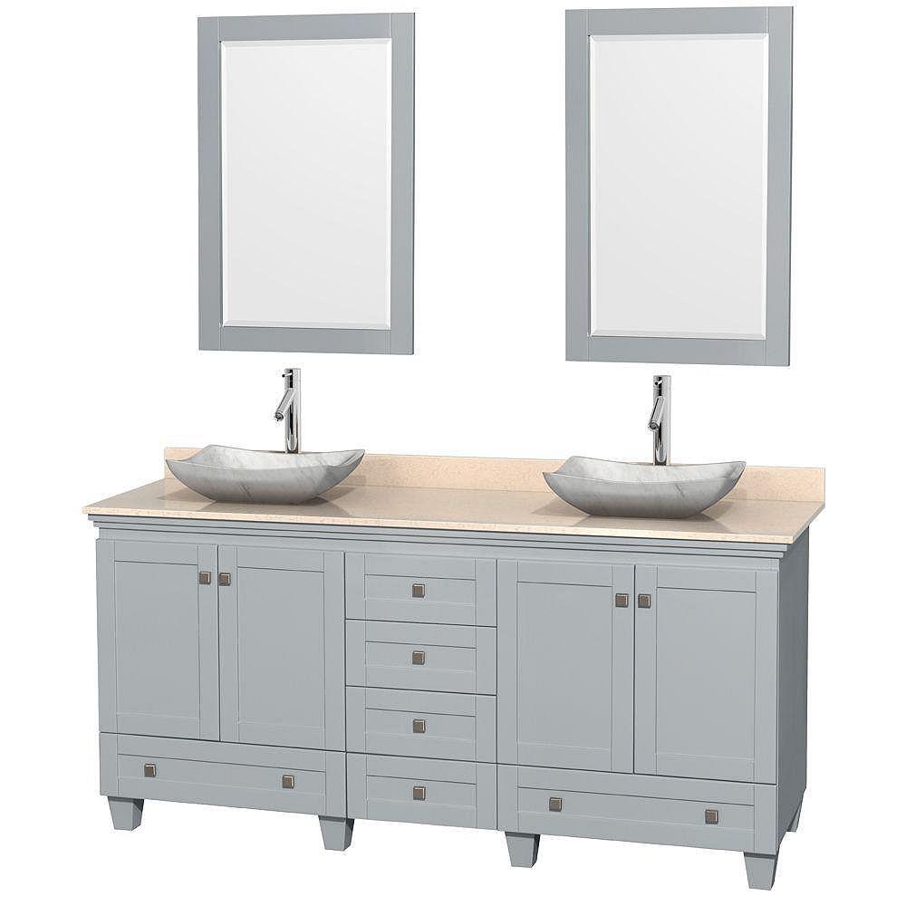 """Wyndham Collection Meuble s. bains dbl Acclaim 72"""" gris huître, comptoir marbre ivoire, éviers Carrare blc, miroirs 24"""""""