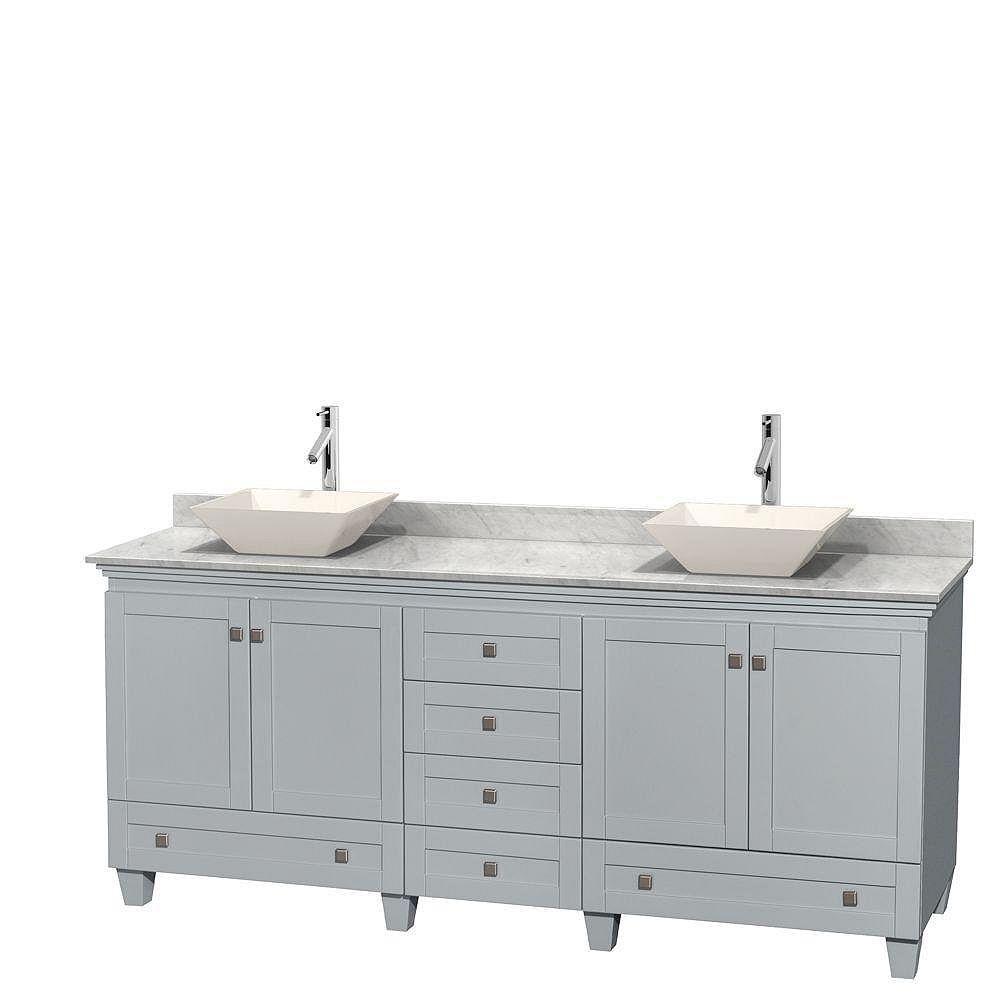 """Wyndham Collection Meuble s. bains dbl Acclaim 80"""" gris huître, comptoir Carrare blc, éviers porcelaine fine, sans mir"""