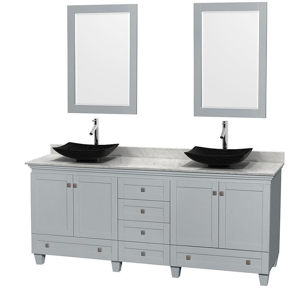 Wyndham Collection Acclaim 80-inch W 6-Drawer 4-Door Vanity With Marble Top in White, Double Basins With Mirror