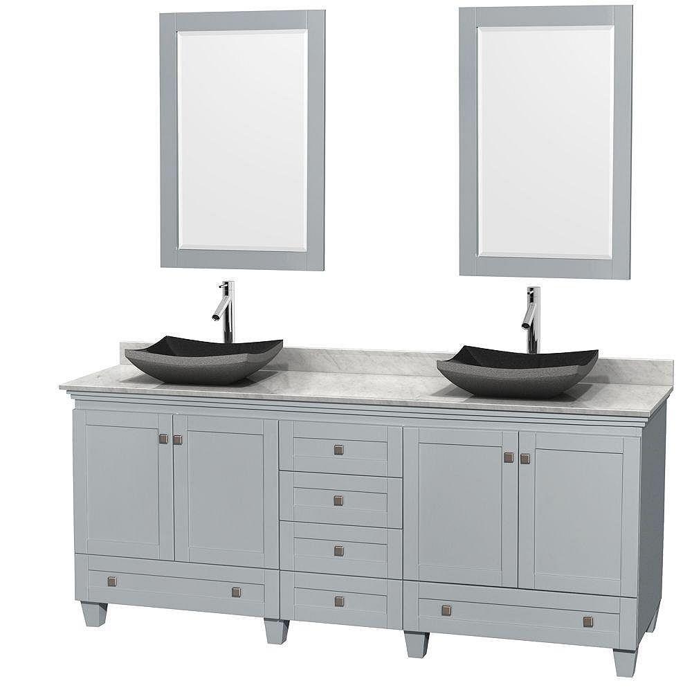 """Wyndham Collection Meuble s. bains dbl Acclaim 80"""" gris huître, comptoir Carrare blc, éviers granit noir, miroirs 24"""""""