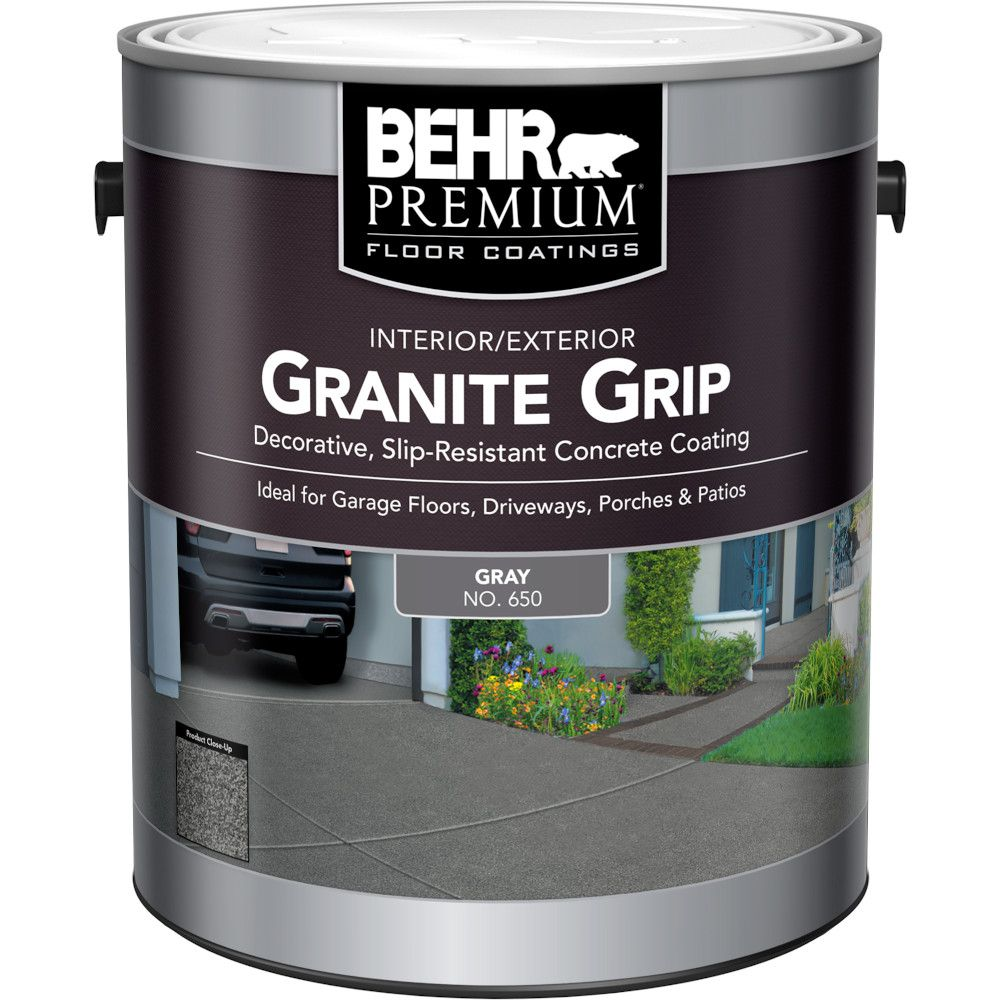 Behr Premium Granite Grip Interior/Exterior Concrete Coating in Gray, 3.79L 65001C