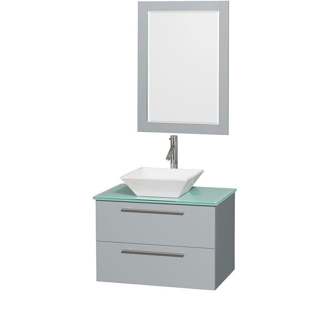 """Wyndham Collection Meuble s. bains simp Amare 30"""" gris colombe, comptoir verre vert, évier porcelaine blc, mir 24"""""""