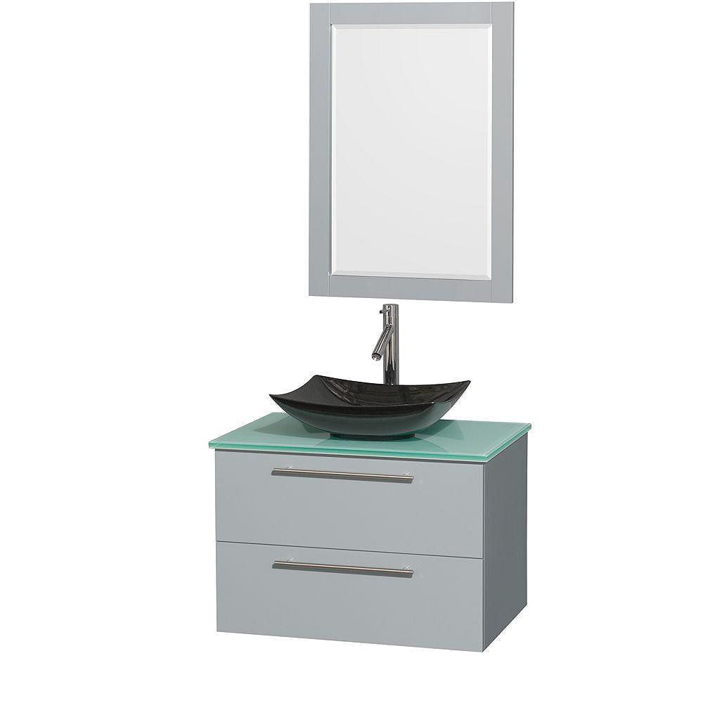 """Wyndham Collection Meuble s. bains simp Amare 30"""" gris colombe, comptoir verre vert, évier granit noir, mir 24"""""""