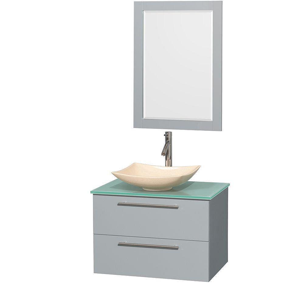 """Wyndham Collection Meuble s. bains simp Amare 30"""" gris colombe, comptoir verre vert, évier marbre ivoire, mir 24"""""""
