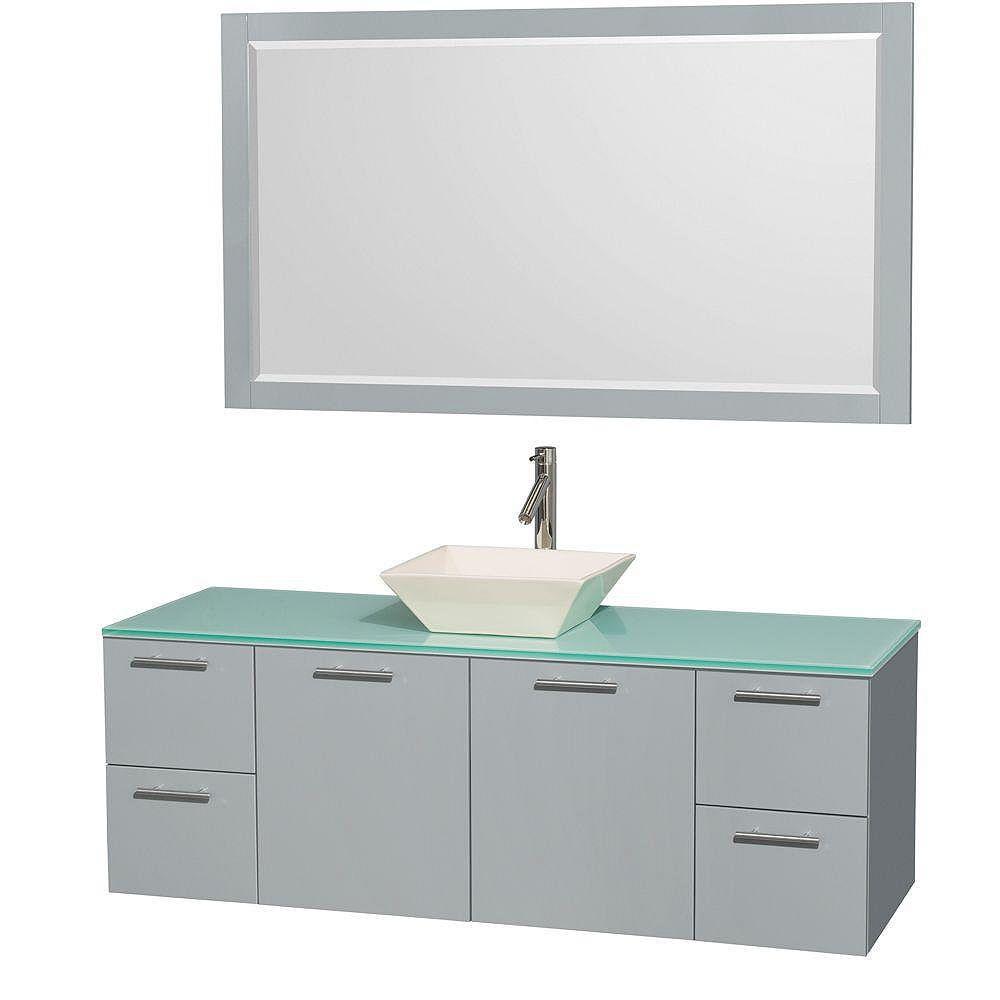 """Wyndham Collection Meuble s. bains simp Amare 60"""" gris colombe, comptoir verre vert, évier porcelaine fine, mir 58"""""""