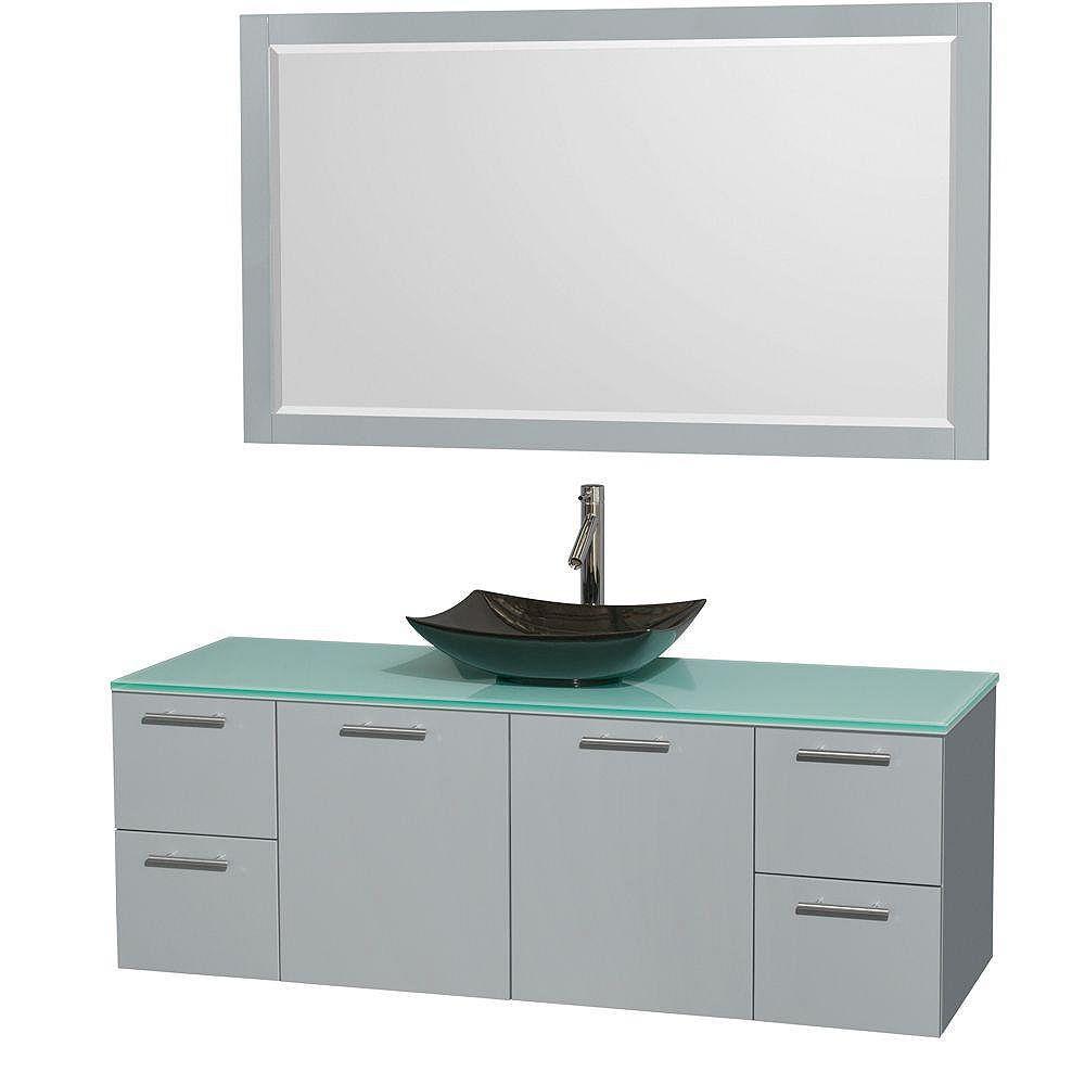 """Wyndham Collection Meuble s. bains simp Amare 60"""" gris colombe, comptoir verre vert, évier granit noir, mir 58"""""""