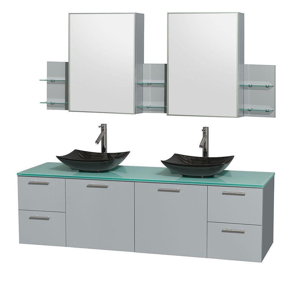 """Wyndham Collection Meuble s. bains dbl Amare 72"""" gris colombe, comptoir verre vert, éviers granit noir, arm. médic."""
