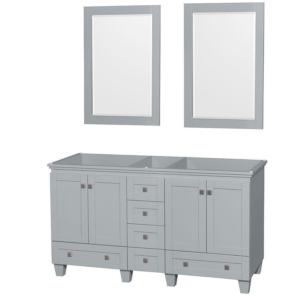 Wyndham Collection Acclaim 60-Inch  Double Vanity Cabinet with Mirrors in Oyster Grey