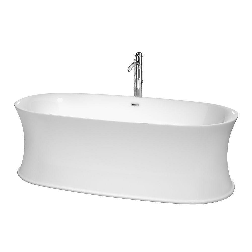 """Wyndham Collection Baignoire autoportante Kara 71"""" blanche, robinet, drain et trop-plein avec finition en chrome poli"""