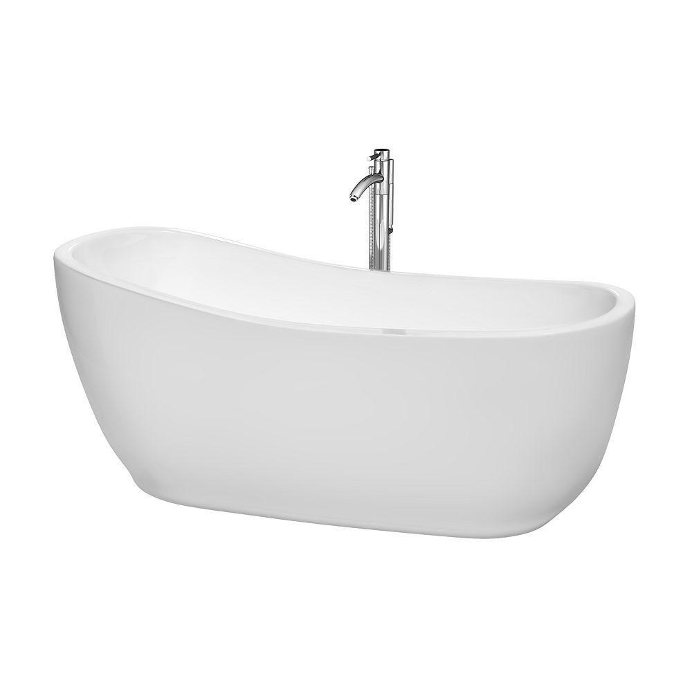 Wyndham Collection Margaret 5 Feet 6-Inch Freestanding Bathtub with Tub Filler, Drain and Overflow Trim in Polished Chrome
