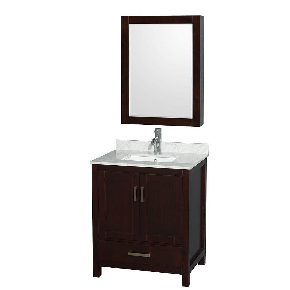 Wyndham Collection Sheffield 30-inch 1-Drawer 2-Door Freestanding Vanity in Brown With Marble Top in White With Medicine Cabinet