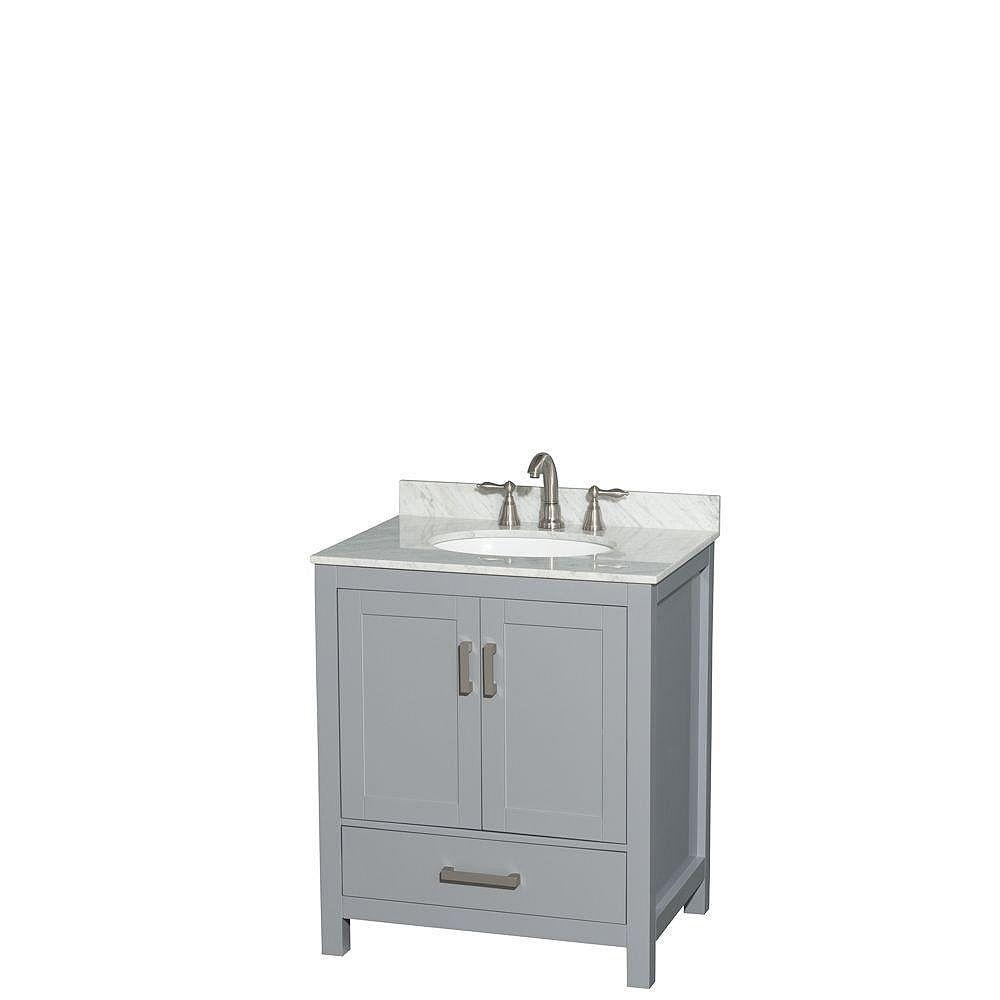 """Wyndham Collection Meuble s. bains simple Sheffield 30"""" gris, comptoir marbre Carrera blanc, évier ovale, sans miroir"""