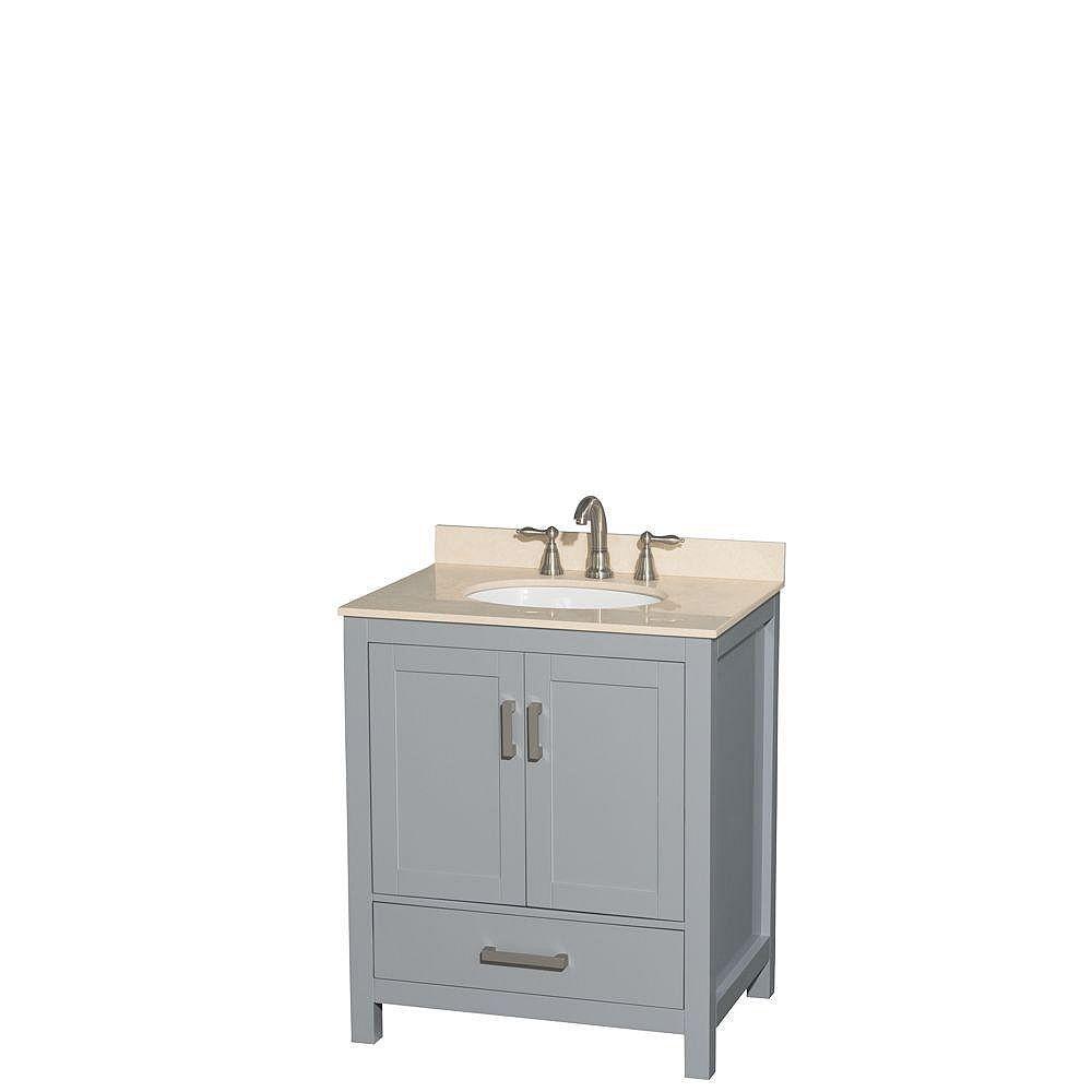 Wyndham Collection Sheffield 30-inch W 1-Drawer 2-Door Freestanding Vanity in Grey With Marble Top in Beige Tan