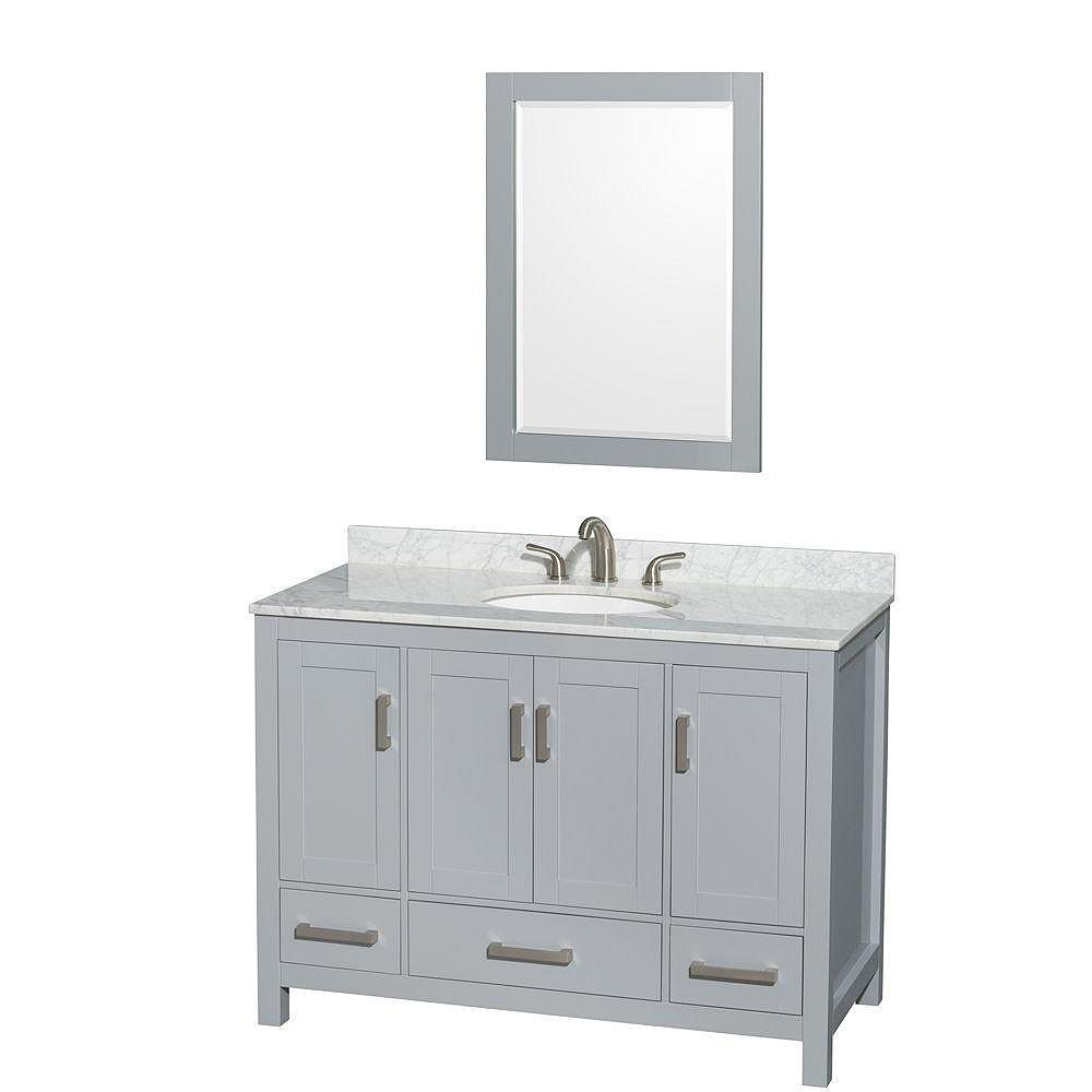 "Wyndham Collection Meuble s. bains simple Sheffield 48"" gris, comptoir marbre Carrera blanc, évier ovale, miroir 24"""