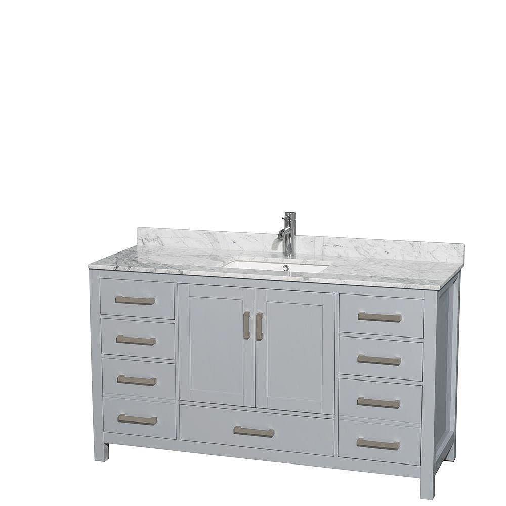 """Wyndham Collection Meuble s. bains simple Sheffield 60"""" gris, comptoir marbre Carrera blanc, éviers carrés, pas miroir"""