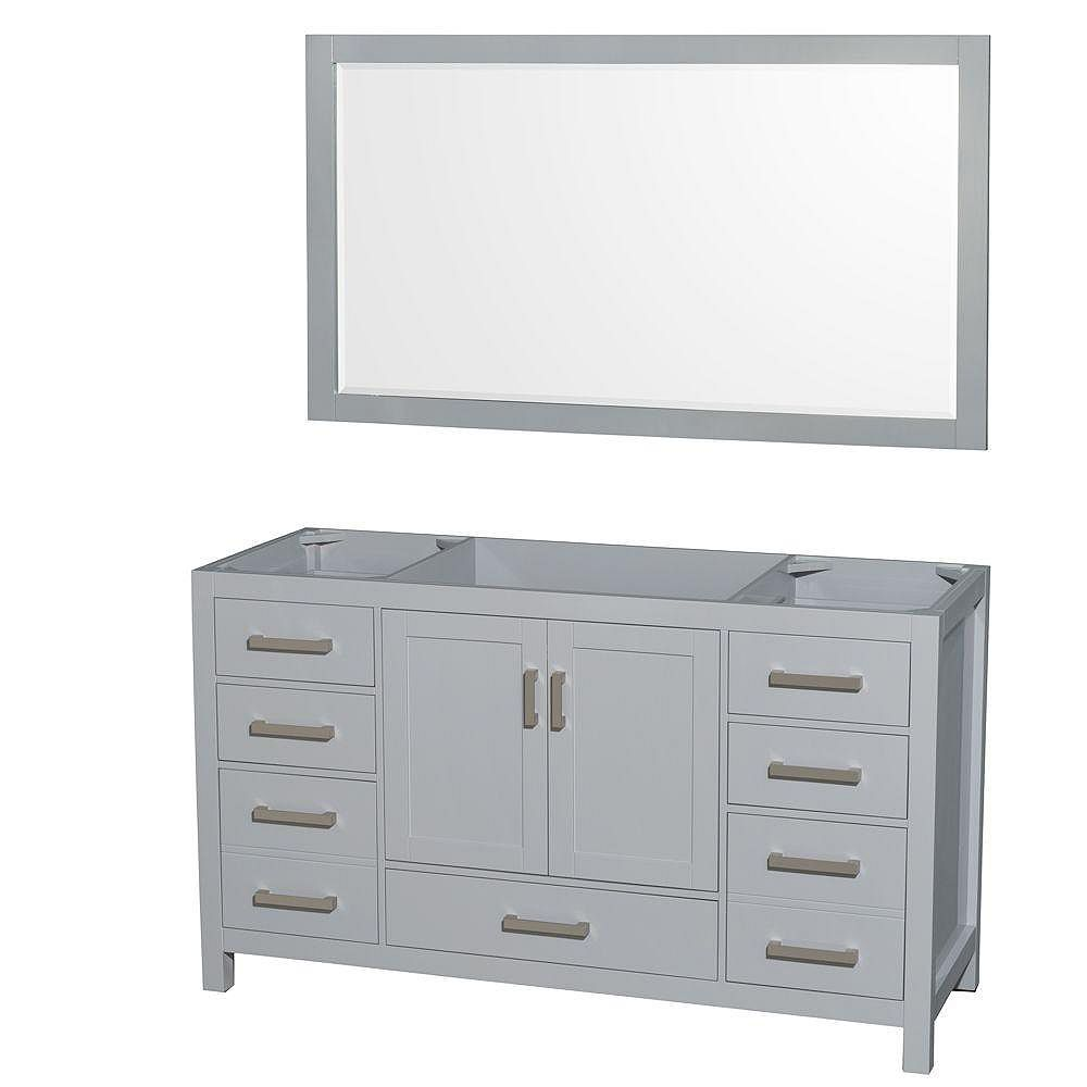 Wyndham Collection Sheffield 60-Inch  Double Vanity Cabinet with Mirror in Grey
