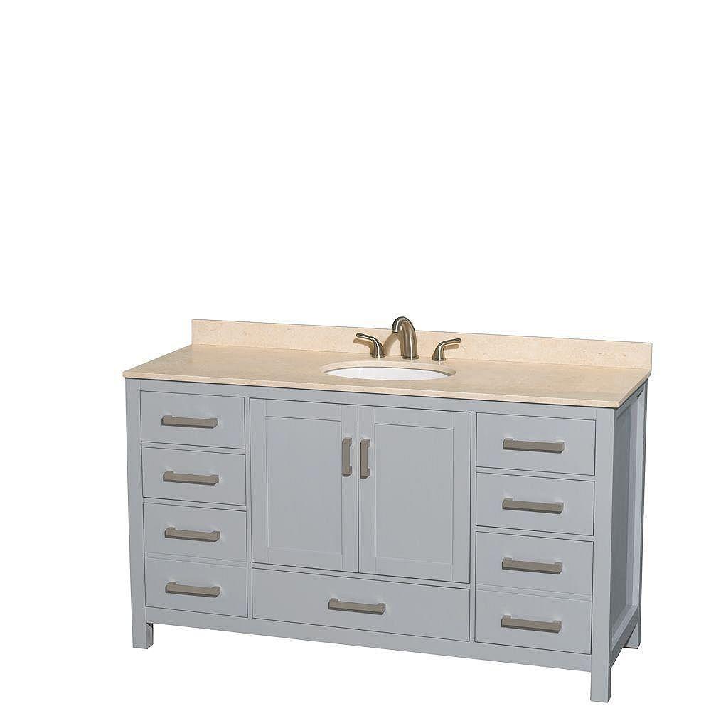"""Wyndham Collection Meuble s. bains simple Sheffield 60"""" gris, comptoir marbre ivoire, évier ovale, pas miroir"""