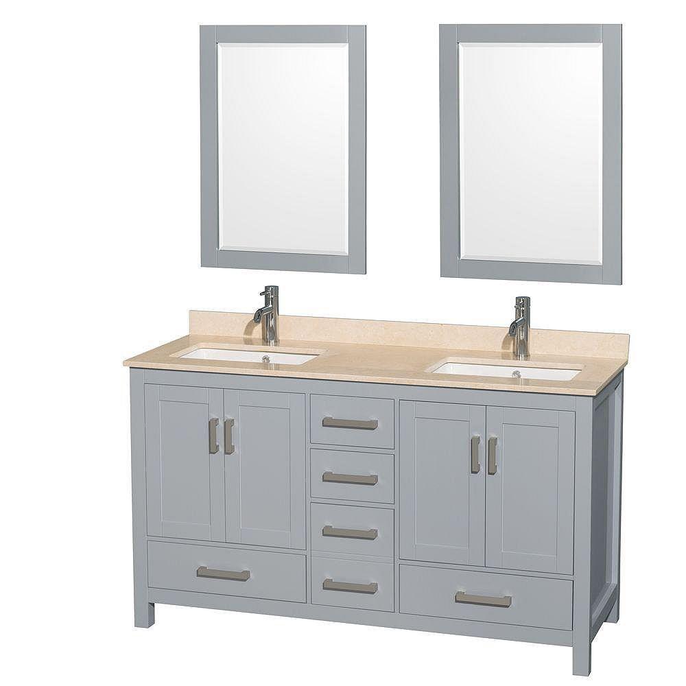 """Wyndham Collection Meuble s. bains dbl Sheffield 60"""" gris, comptoir marbre ivoire, éviers carrés, miroirs 24"""""""
