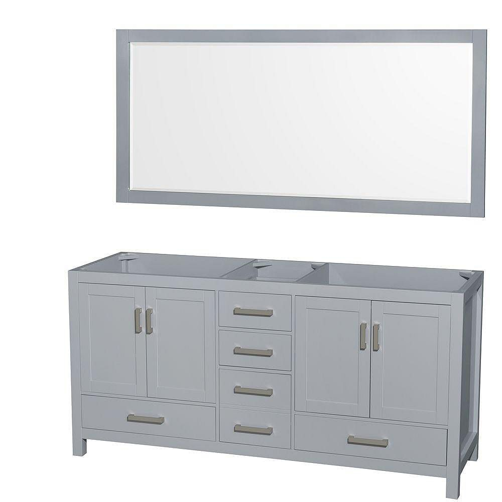 Wyndham Collection Sheffield 72-Inch  Double Vanity Cabinet with Mirror in Grey