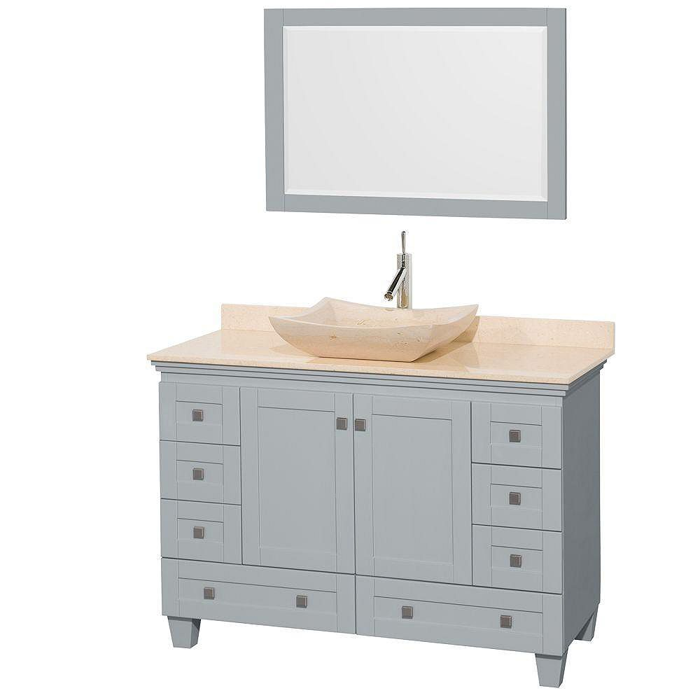 Wyndham Collection Acclaim 48-inch W 8-Drawer 2-Door Vanity in Grey With Marble Top in Beige Tan With Mirror