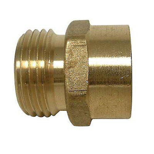 Adapter 3/4 inch Male Hose Thread X 1/2 inch Female Fitting Brass No Lead 1/Bg