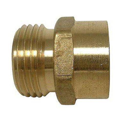 Adapter 3/4 inch Male Hose Thread X 1/2 inch Female Fitting Brass No Lead 1/Bg