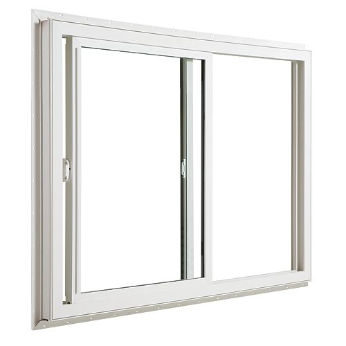 "JELD-WEN 71 1/4"" X 35 3/16"" Coulissant en PVC blanc ouv. XO, double low-e & argon"