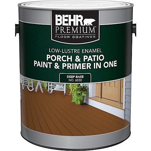 Peinture et apprêt en un pour galeries et patios, émail lustre doux - Base foncée, 3,7 L