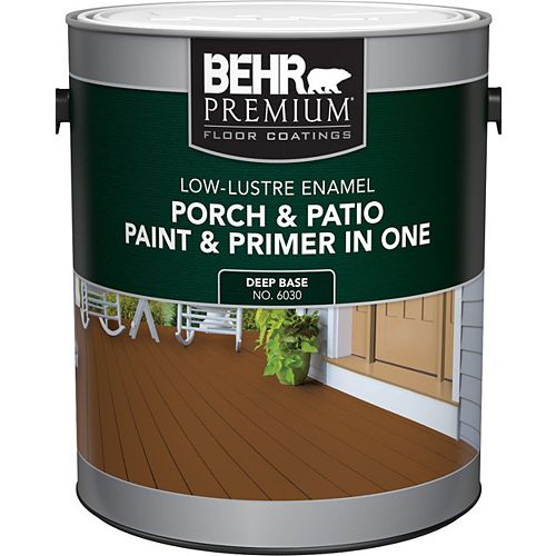 Behr Premium Porch & Patio Paint &Primer In One, Low Lustre Enamel - Deep Base, 3.7 L