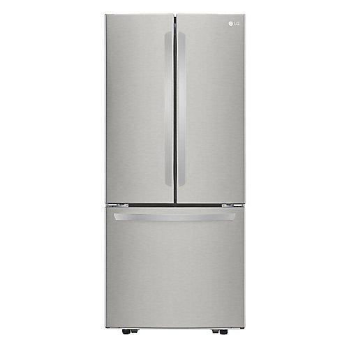 30-inch W 22 cu. ft. 3-Door French Door Refrigerator with Smart Cooling in Stainless Steel - ENERGY STAR®