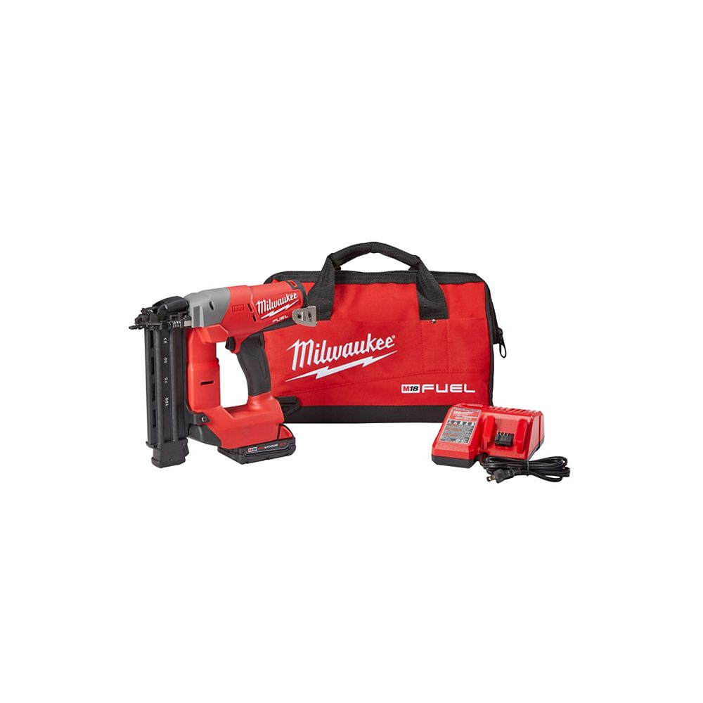 Milwaukee Tool M18 FUEL 18V 18 Gauge Cordless Lithium-Ion Nailer Kit