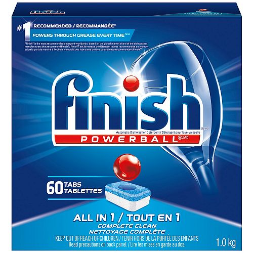 Dishwasher Detergent, All in 1 Powerball, Fresh, 60 Tablets, Fast Action Clean