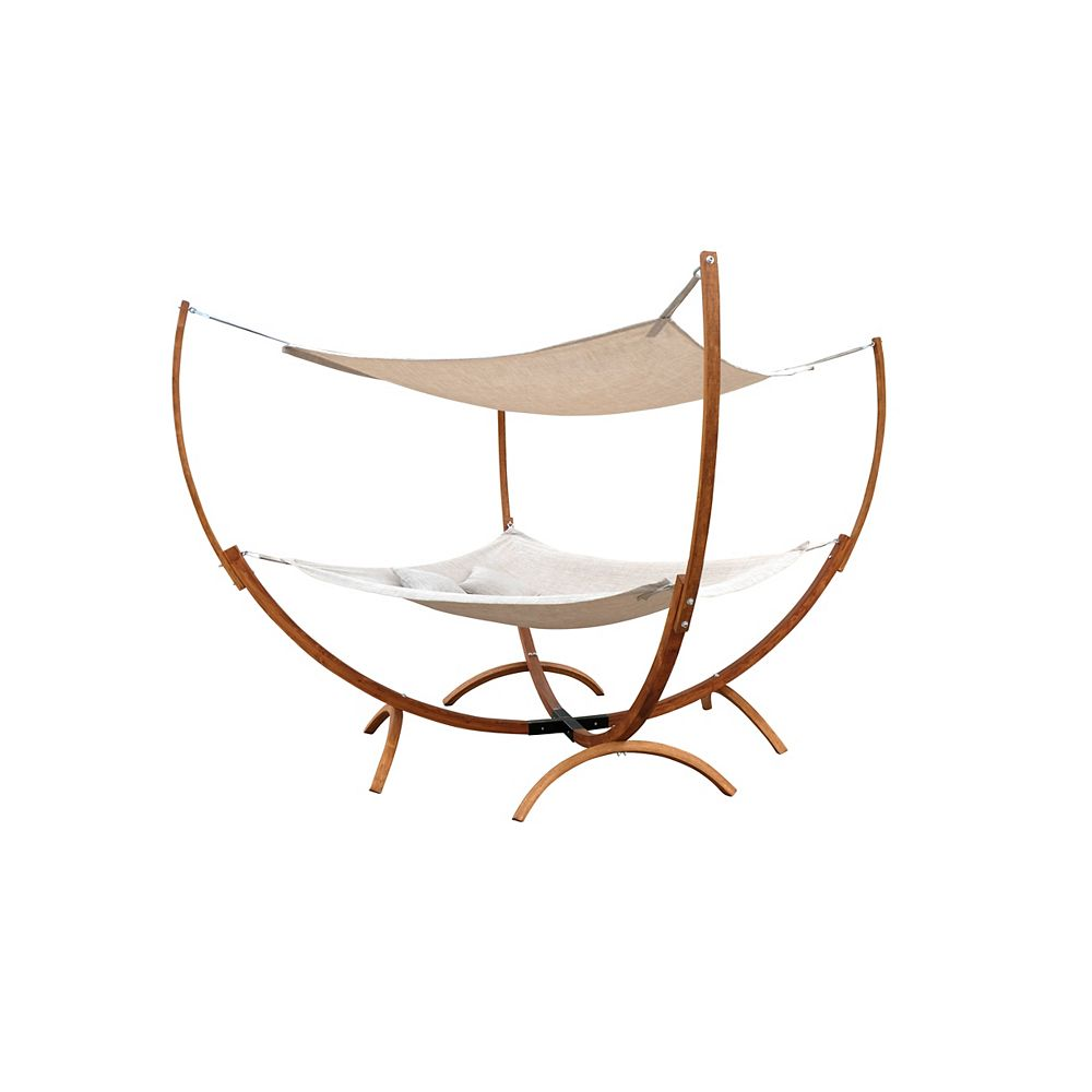 Leisure Season Square Hammock Stand with Hammock and Canopy