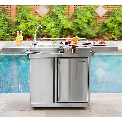 Chariot de cuisine extérieur et espace boissons avec frigidaire et évier