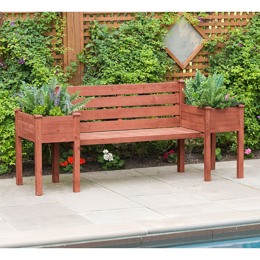 Leisure Season 79-inch W x 20-inch D x 38-inch H Wood Planter Bench