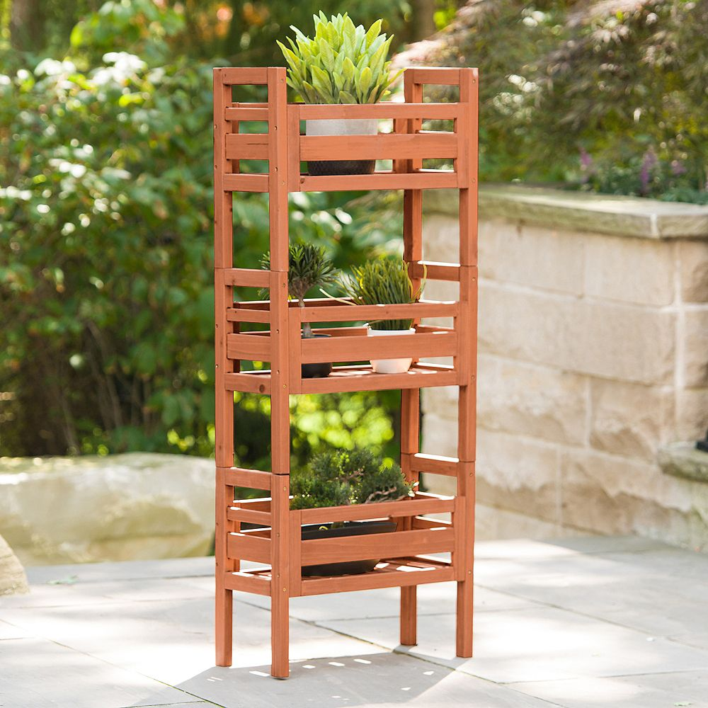 Leisure Season Wooden Stacking Planter
