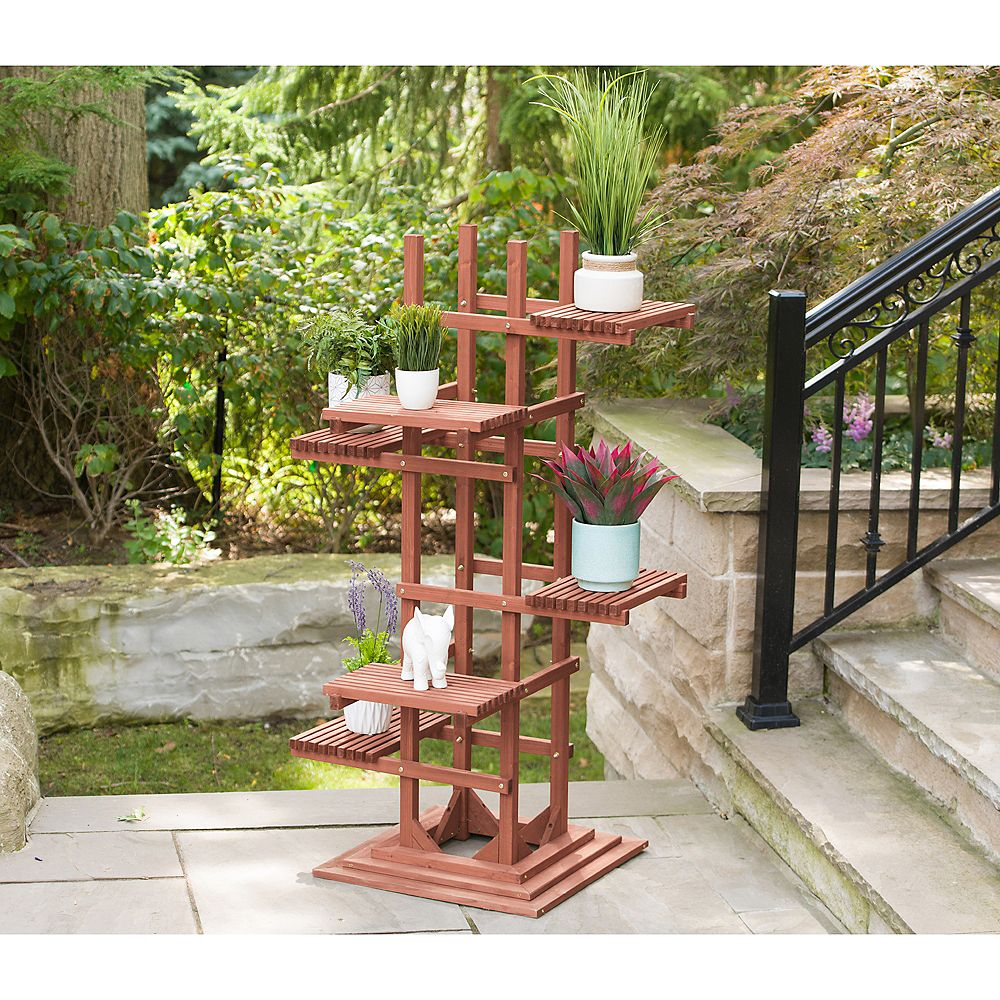Leisure Season 6-Tier Wooden Pedestal Plant Stand | The ...