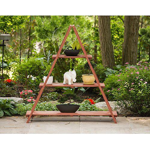 Support pour plante en bois à échelle