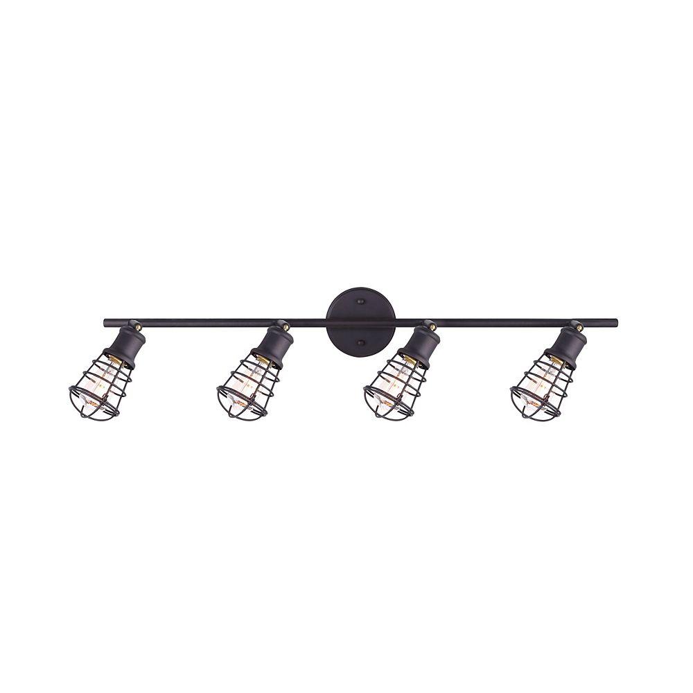 Canarm Loft quatre lumières eclairage sur rail de huilé bronze avec cage métallique