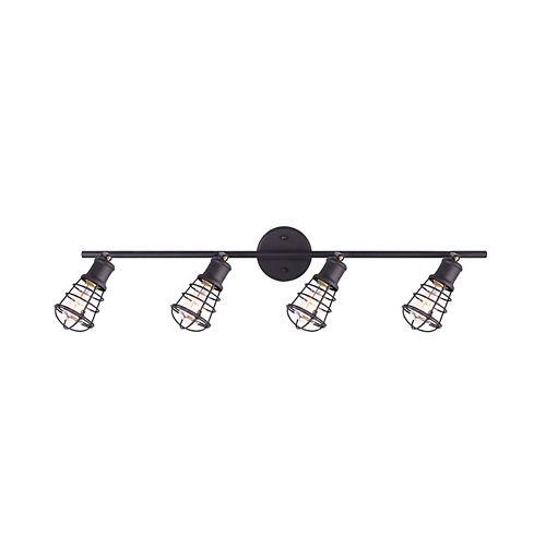 Loft quatre lumières eclairage sur rail de huilé bronze avec cage métallique