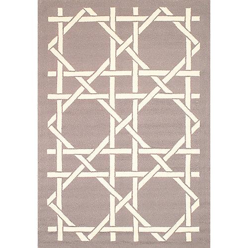 Carpette d'intérieur/extérieur, 5 pi x 7 pi, style contemporain, rectangulaire, havane Lattice