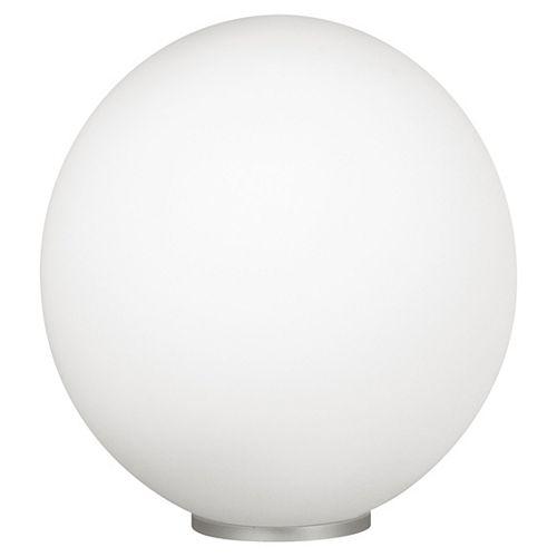 Rondo Lampe de Table 1L,  Fini Argent avec Verre Rond Blanc