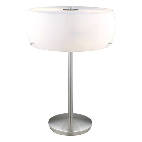 Camaro 1 Lampe de Table 2L, Fini Nickel Mat avec Verre Blanc Lustré