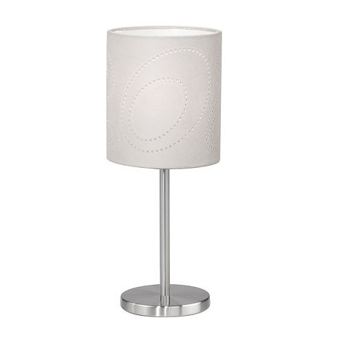 Indo Lampe de Table 1L, Fini Nickel Mat et Abat-Jour en Tissu Beige avec Motif Perforé