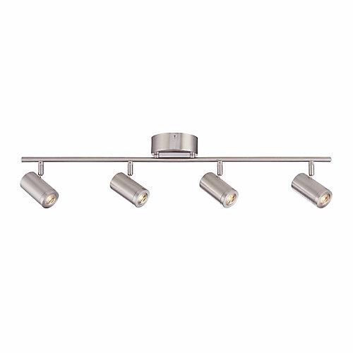 Rail d'éclairage à 4 lampes à DEL intégrée orientables, nickel brossé