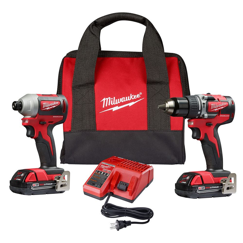 Milwaukee Tool M18 18V Brushless Cordless Compact Hammer Drill Impact Driver Combo Kit  W/ (2) 2.0Ah Batteries