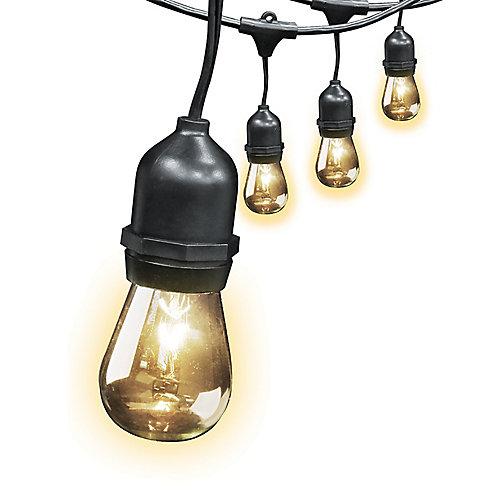 Guirlande lumineuse résistante aux intempéries avec 10 ampoules incandescentes, 30 pi