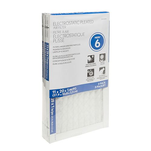 FILTRE PROTECTION DE BASE, PAQUET DE 3, 11X20X1 PO (28X51X2,5 CM)
